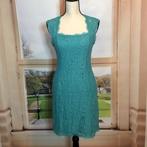 Teal flattering short dress. Size 8